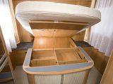 2008 Burstner Solano t725 - storage area under fixed rear double bed