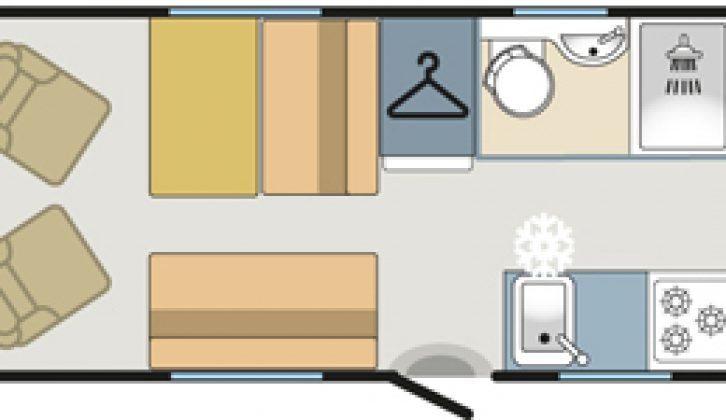 Daytime floorplan in the Tribute T-720, a six-berth budget motorhome