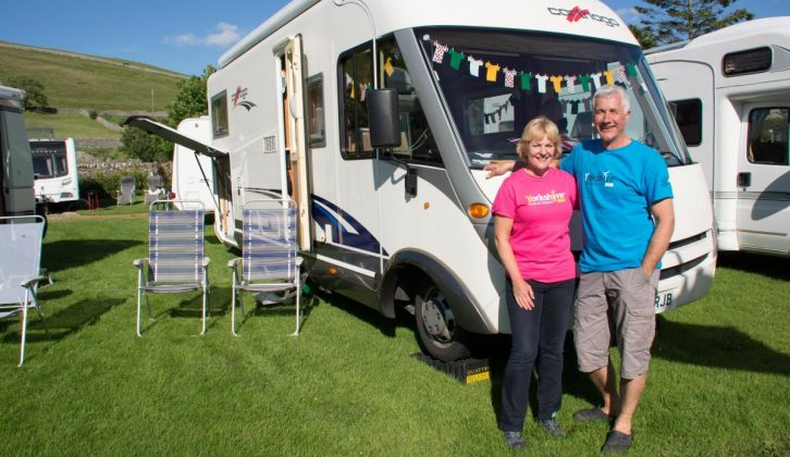 Ruth, Geoff and their bunting-clad Carthago followed Le Tour