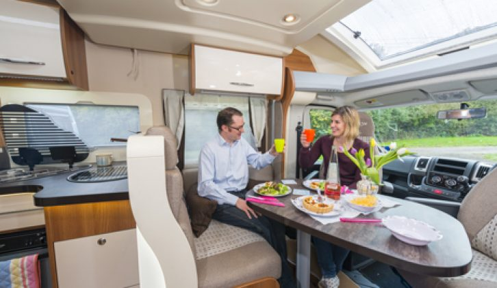 Lots of light floods into the lounging/dining area in the Chausson Welcome 717