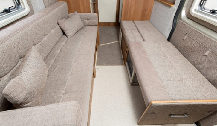 The living area controls are found above the lounge sofa rear door access