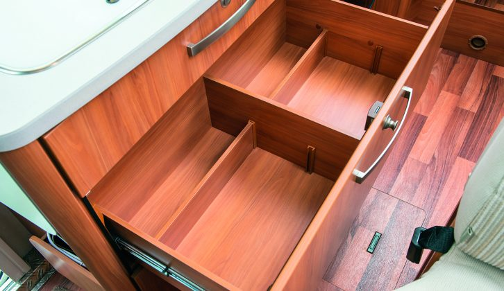 Below the hob in this Hymer is a large drawer – the drawers are all soft close, with positive security catches