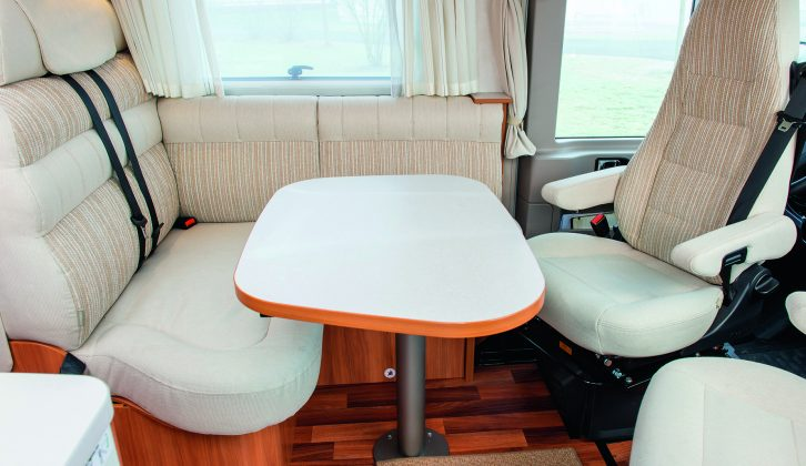 Up to five people can dine at this table – read more in the Practical Motorhome Hymer Exsis-i 578 review