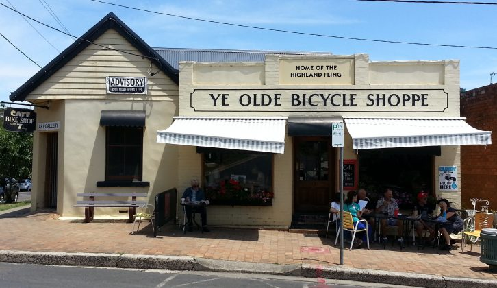Back on the road and in Bundanoon, where Bob found Ye Olde Bicycle Shoppe, a cafe and bike hire outlet rolled into one