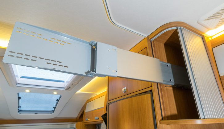This clever TV stand at the foot of the fixed bed allows your set to be viewed from either end of the 'van – read more in the Practical Motorhome Dethleffs Esprit Comfort T 7090-2 review