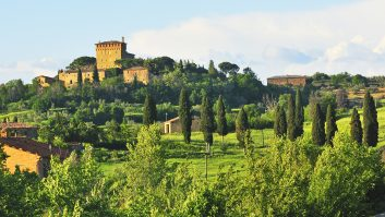 Tour Italy in your 'van and in Tuscany take in the luscious landscape, filled with vineyards and olive groves, and dotted with architectural gems