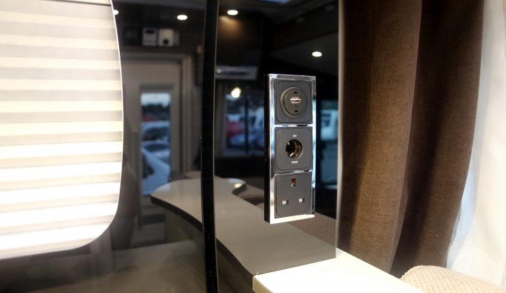 Sockets for a television are in the kitchen area. There is also a bracket on the wall opposite, so you can choose to have the TV in a couple of places in the Pilote Galaxy G740 G Sensation motorhome