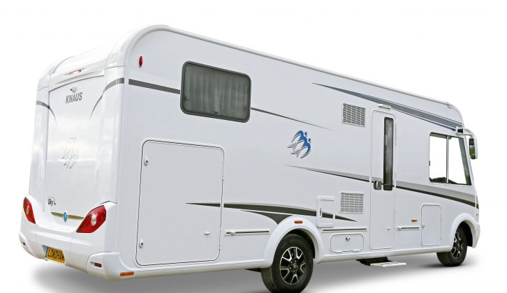 There's a rear garage with external access from both sides of the four-berth Knaus Sky i 700