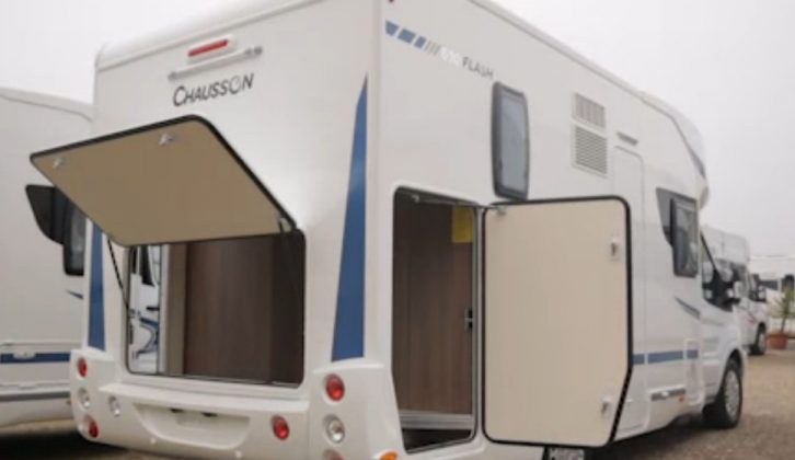 There's a large, easy to access and well appointed rear garage in the Chausson Flash 610