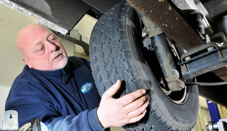 Check the tyre pressures and tread depths before putting your motorhome in for its annual service
