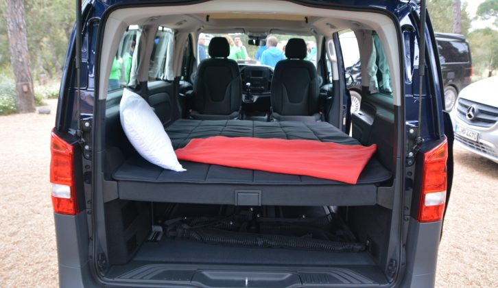 The travel seats fold down to give two beds, a further two can be accommodated in the roof
