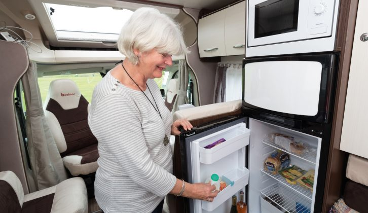 A full-size, 175-litre fridge/freezer in a motorhome of this size is highly unusual, but very welcome. Note that the microwave oven is overhead in the Benimar Mileo 231