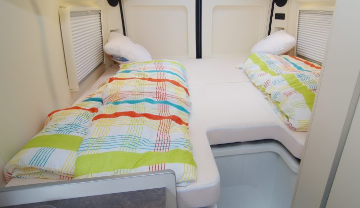 The rear bed in the 2016 Westfalia Amundsen 600E can be used as a large double or two singles