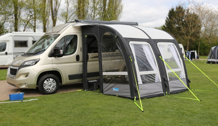 We test two motorhome drive-away awnings: the inflatable Vango Attar 380 Tall and traditional Ventura Freestander Cumulus Low