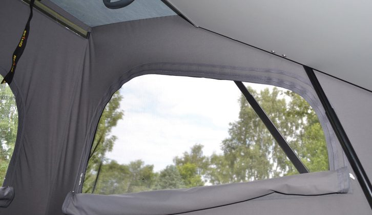 The pop-up roof has a flyscreen on either side with zipped covers to keep out cool night air and bright morning light