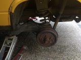 With the VW campervan's old tyres removed, a new set of 185/14Cs had to be chosen