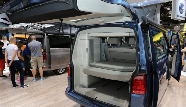 The California Coast camper has a sink, gas hob, storage and compressor fridge