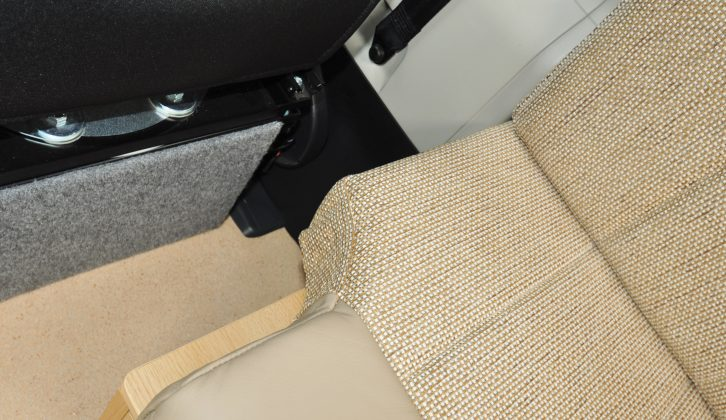 The offside settee has a cutaway to allow you to swivel the driver's seat easily