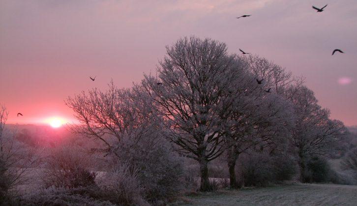 Waking to beautiful winter wonderland scenes is one of the special joys of being a low-season motorcaravanner