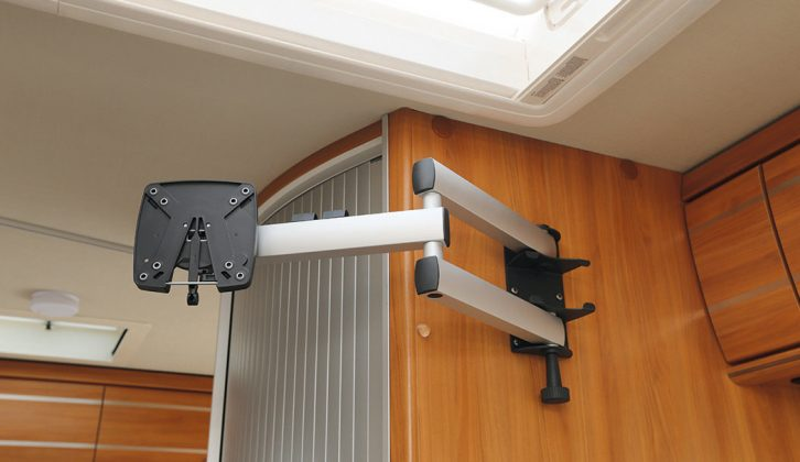 The optional flatscreen TV stand (£170) mounts to the washroom bulkhead –  an optimal viewing position