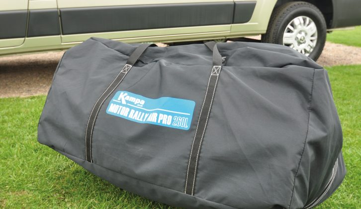 This single bag is enough to carry the entire 18.8kg awning