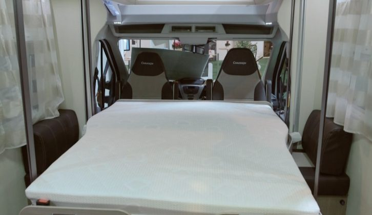 The drop-down bed in the Chausson 620 is very space-efficient