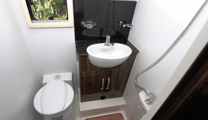 The wipe-clean walls in the Moto-Trek X-Cite G's washroom are practical