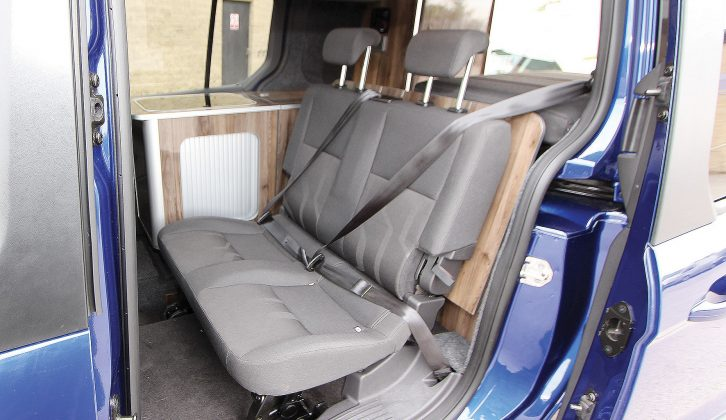 Hidden below the seat was the standard Connect rear travel double-seat – fully crash-tested and EC compliant