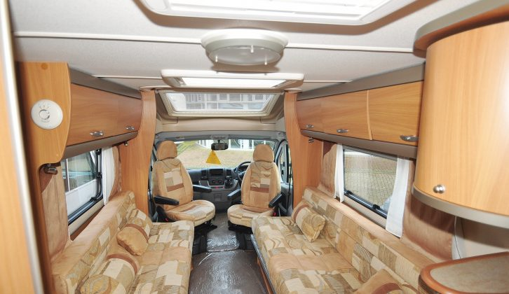 The airy lounge provides plenty of seating, though the sofas are different lengths in this 2010 Swift Bolero 630 EW