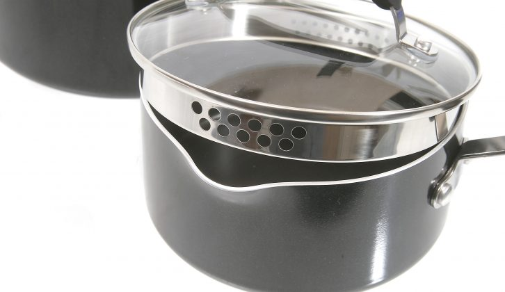 Each pan has two pouring lips which, used with the holes drilled into the lids' sides, mean you won't need a collander