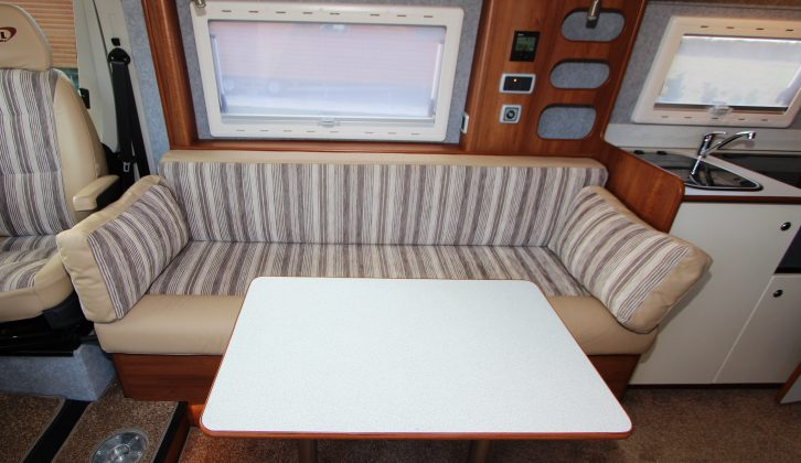 This additional (larger) rectangular table is perfect for dining – read more in the Practical Motorhome S & L Motorhomes Atlanta 6.4FL review
