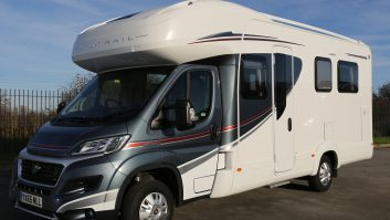 The 2016 Auto Trail Imala 730 is a four-berth with a rear island bed and front dinette bed, but just two seatbelts