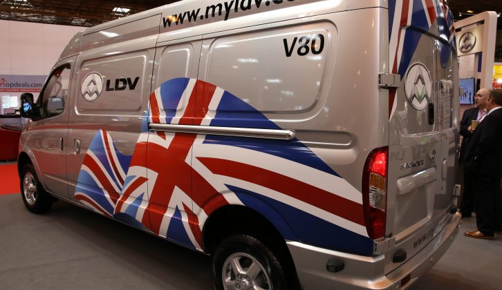 The LDV V80 van with a 2.5-litre 136bhp turbodiesel engine and an electric EV80 were on show