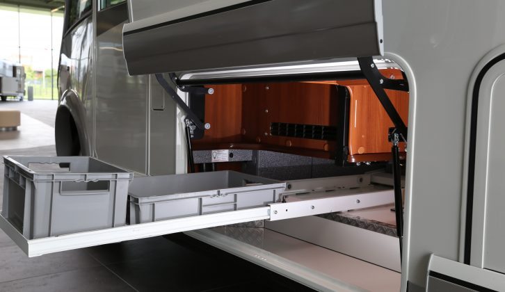 This new pull-out crate system eases loading and removal of touring gear