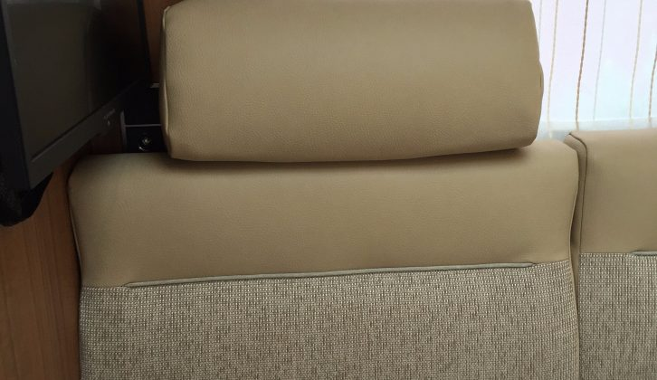 Headrests provide extra comfort in the lounge of this Hymer motorhome