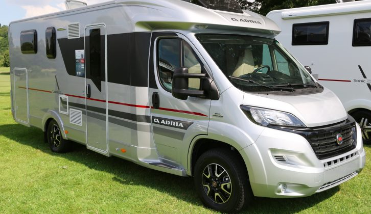 The 2017 Adria Coral Platinum Collection S 690 SC has an island bed and washroom split across the 'van