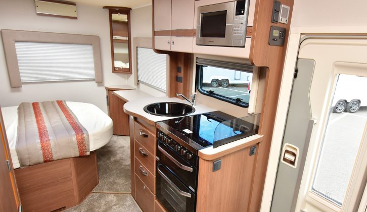 This Elddis Encore 254 showcases the attractive and new-for-2017 soft furnishings scheme