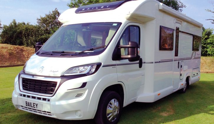 The four-berth Bailey Autograph 75-2 has a French bed and a parallel front lounge – read more in our 2017 preview of the Bailey motorhome range