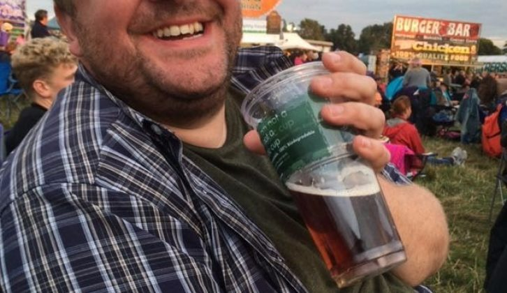 Practical Motorhome's Nigel Donnelly was delighted with Wilma's festival-season service – and the beer!