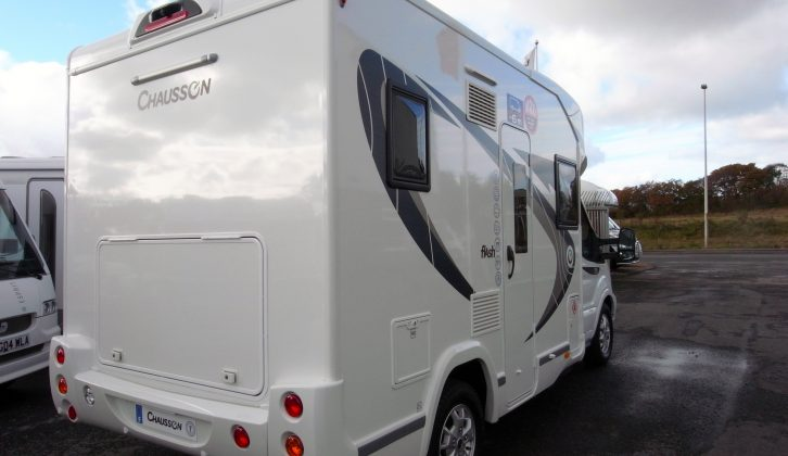 Fixing points on the rear panel for a bike rack are standard on the Chausson Flash 530