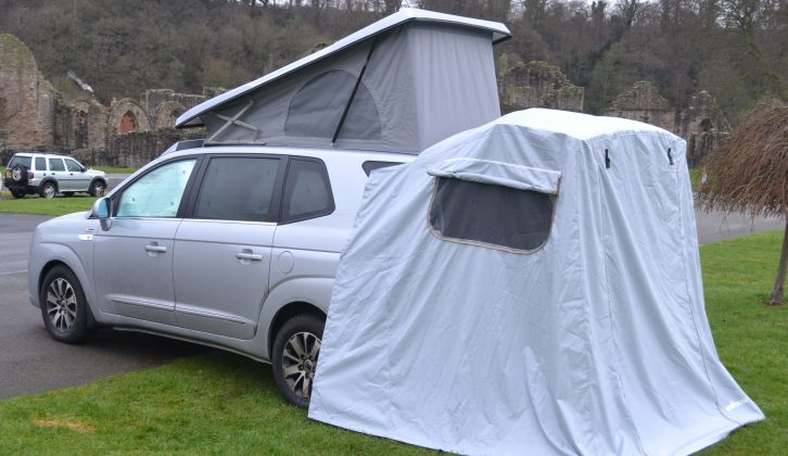 The easy-to-set-up tailgate awning extends the living space