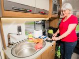 Workspace in the Scout's kitchen is limited, but full marks go to Auto-Trail for keeping a permanent drainer