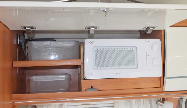 Here is the finished microwave in place – the work took about three hours in total