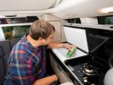 The Westfalia fridge box has a 40-litre capacity, but we found its top-loading design became inconvenient