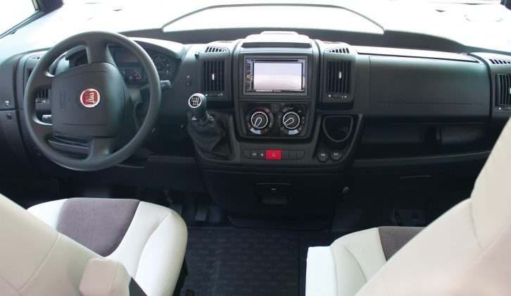 The Fiat Ducato cab feels very car-like and visibility is great