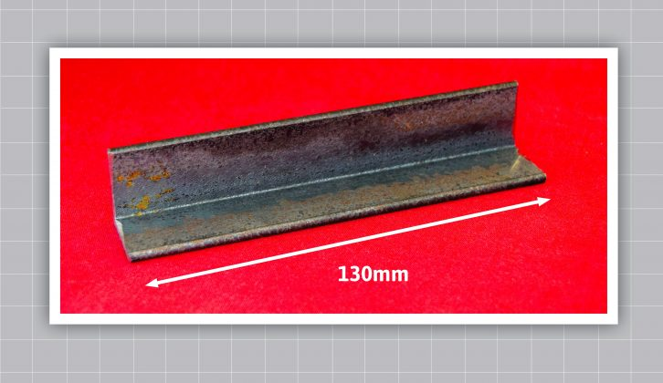 Cut a piece of angled steel measuring 130mm, to form the bottom member of the puller