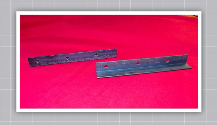 Here are the two pieces of steel after drilling – these form the side members of the puller