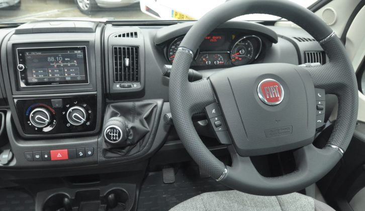 The Cab gets a double-DIN stereo/sat-nav/camera unit, air-con and a padded steering wheel