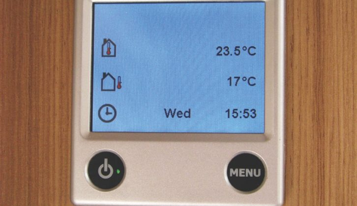 The Alde 3020 Smart Control panel (with correct time and date set)