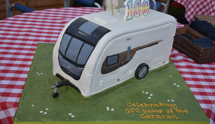 Guests tucked into this caravan-shaped chocolate cake at the launch of National Camping and Caravanning Week